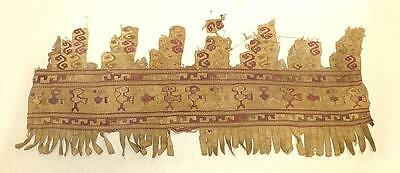 Pre-Columbian Peruvian Fringed Textile Fragment With Birds - Chancay?