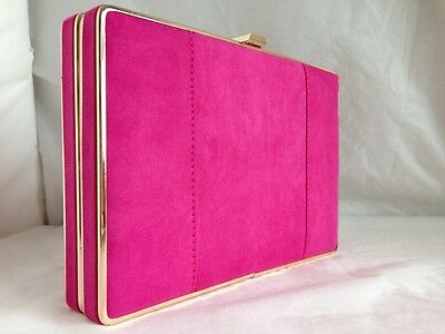 New Hot Fuschia Pink  Faux Suede Box Evening Clutch Bag Wedding Party Prom Club