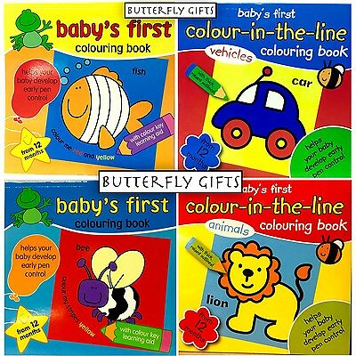 Baby's First Colouring Book Colour-In-The-Line  Book - From 12 Months Brand New
