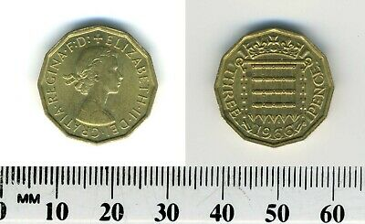 Great Britain 1966 -  3 Pence Nickel-Brass Coin - Queen Elizabeth II