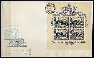 VATICAN Sc#155a S/S FDC 1952 1st Stamp MNH