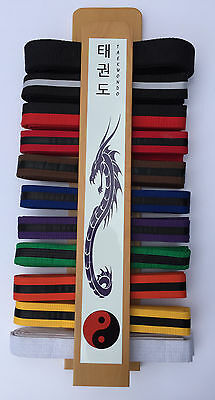 Martial Arts Taekwondo Belt Display Rack with Blue Dragon and Clear Coat finish.
