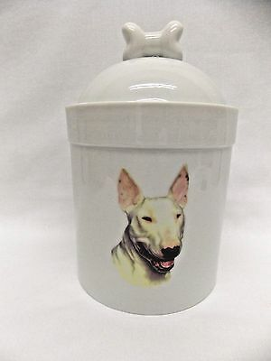 English White Bull Terrier  Dog Porcelain Treat Jar Fired Figurine Decal 8In T