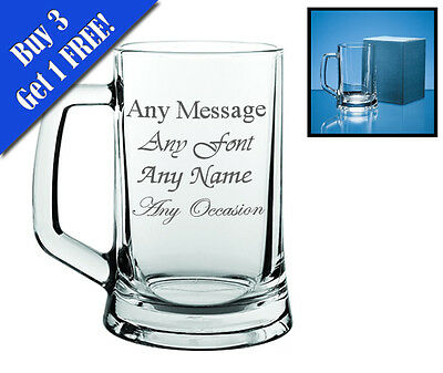 Personalised Engraved Glass Tankard Father's Day Birthday Usher Best Man