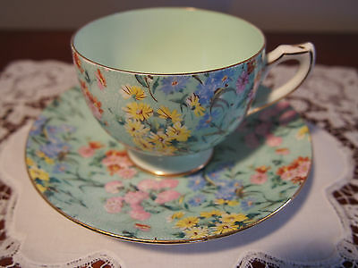 Vintage SHELLEY Ely Shape Cup and Saucer 'Melody Chintz' 13133