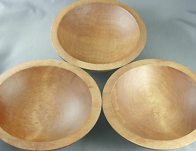 Set of 3 Vintage BariboCraft Salad Bowls Maple Turned Wood 70s Canadian