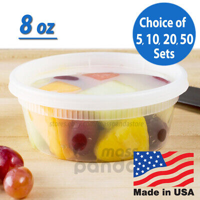8oz Heavy Duty Small Round Deli Food/Soup Plastic Containers w/ Lids BPA free