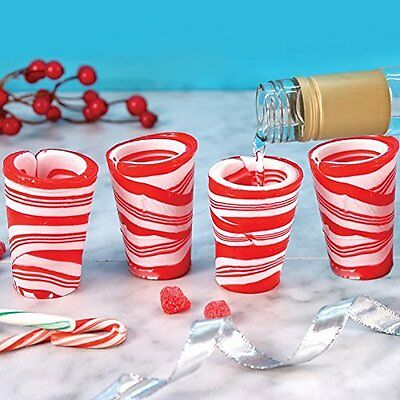 Peppermint Candy Cane Shot Glass Set of 3