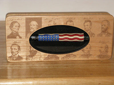 Handcrafted Civil War Bullet Pen with a 35 Star Union Flag Inlay - Handcrafted