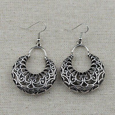 Bohemian Antique Silver Hollow Out Round Drop Earrings For Women