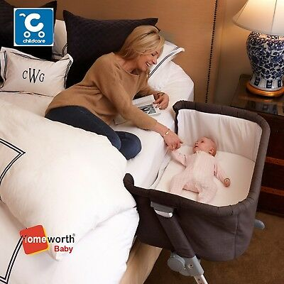 NEW CHILDCARE COSY TIME BEDSIDE CO SLEEPER GREY BASSINET COT CRIB post Au