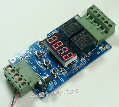 Dual Programmable Relay PLC Board Cycle /Delay Timer 2 Voltage Detection control