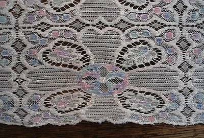 Vintage Embroidered Net Lace Table Runner Pink Blue Flower Shabby Cottage