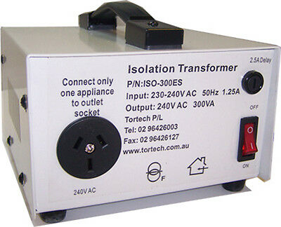 Isolation Transformer 300w 240v - 240v shipped from Sydney ISO-300ES Tortech