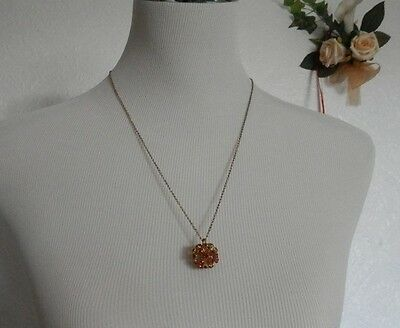 Pendant & Chain RED STONES ON GOLD TONE CANE STICKS FORMING CLUSTER SEED BALL