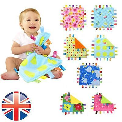 *UK Seller* Baby Boys Girls Taggy Colorful Security Blanket Cloth Comforter