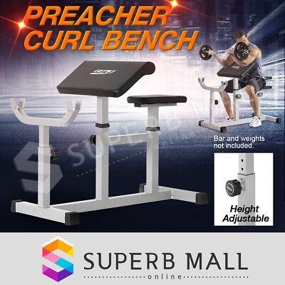 Heavy Duty Fully Adjustable Preacher Curl Weight Bench Bicep Arms Press Situp