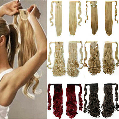Women's Popular Long Straight Wavy Ponytail Cosplay Clip in Hair Extensions