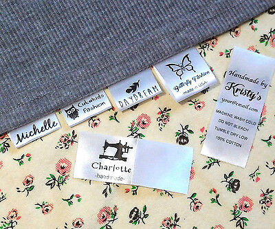 30 Custom clothing name label sew in hanging tag fabric kid school Personalized