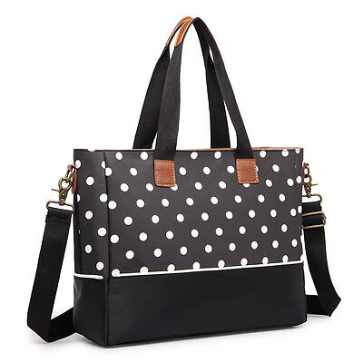Mummy Baby Nappy Diaper Changing Maternity Bag Set Wipe Clean Polka Dots Black