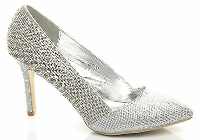 New Silver Diamante Pointed Toe Shiny Stiletto Wedding Party Prom Shoes