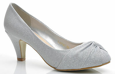 New Silver Glitter Knot Kitten Heels Wedding Evening Prom Party Shoes