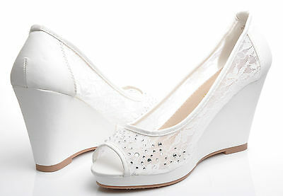 New Off White Diamante Peep Toe Wedge Shoes for Wedding Bridal Party Prom