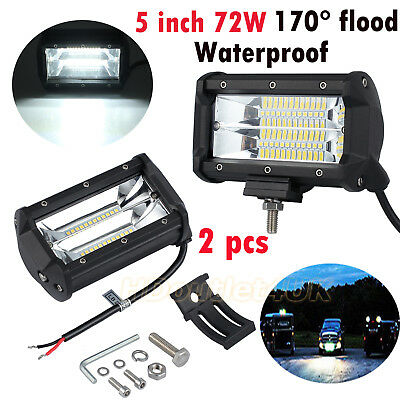 2X 5 inch 72W Osram LED Flood Work Lamp OffRoad Floodlight ATV Jeep SUV Truck