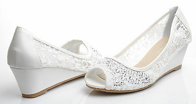 Off White Low Wedge Shoes Lace Diamante Peeptoe Wedding Bridal Party Prom