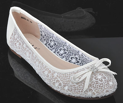 Off white Lace Diamante Wedding Ballerina Bridal Flat Pumps UK 3 4 5 6 7 7.5