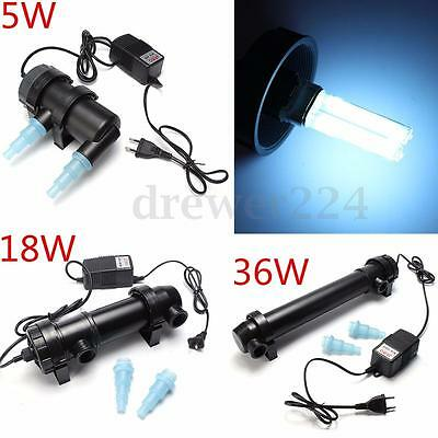 5W/18W/36W Aquarium Fish Pond Tank UV Sterilizer Filter Clarifier Lamp 220-240V