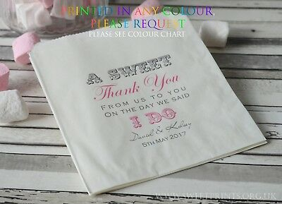 Personalised sweet / sweetie candy cart favour bags sweet thank you