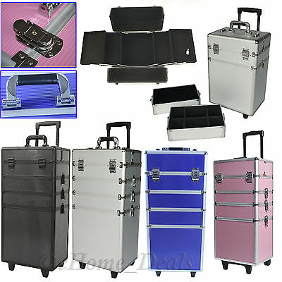 4 In 1 Nail Beauty Jewellery Case Box Makeup Cosmetic or Castor Trolley Wheels