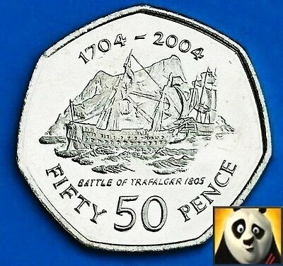 2004 GIBRALTAR 50p Fifty Pence Battle of Trafalgar 1805 Unc 7 Side Coin