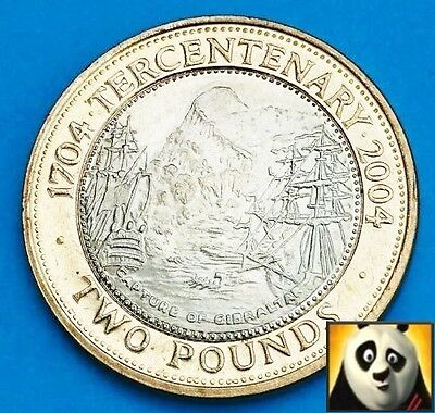 2004 Gibraltar £2 Two Pound Rare Capture of Gibraltar Tercentenary Coin