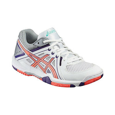 Asics Gel-Task Women's Indoor Court Shoes – White/Flash Coral/Parachute Purple