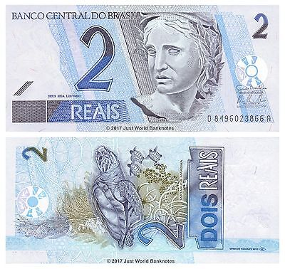 Brazil 2 Reais ND (2001-) P-249 Mint UNC Uncirculated Banknotes
