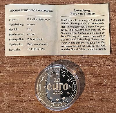 1996 Luxembourg 10 Euro .999 Fine Silver Coin and Certifcate