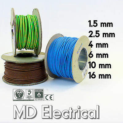 Single Core Conduit Cable 6491X Blue Brown Earth Yellow / Green Wire 1.5 - 16 mm