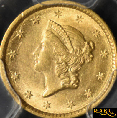1853 MS61 PCGS Secure! 1$ Gold Liberty Dollar, Bright Luster! Great PCGS Photo!