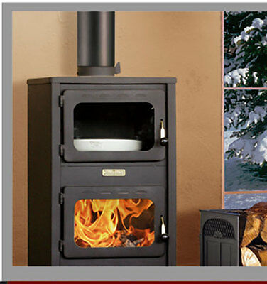 Wood Burning Cooking Stove Solid Fuel Fireplace Log Burner KUPRO LUX with OVEN