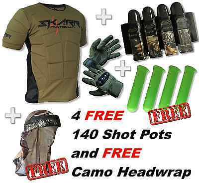 BRAND NEW! Skarr Paintball Body Armour + Gloves + Pack + Pots + Headwrap Package