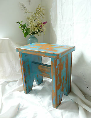 Vintage Style Wooden Stool Side Table Reclaimed Wood Shabby Blue