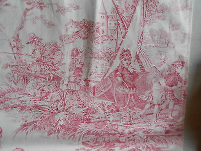 Pair of Vintage french CURTAINS Cottage TOILE de JOUY pink printed RED PINK
