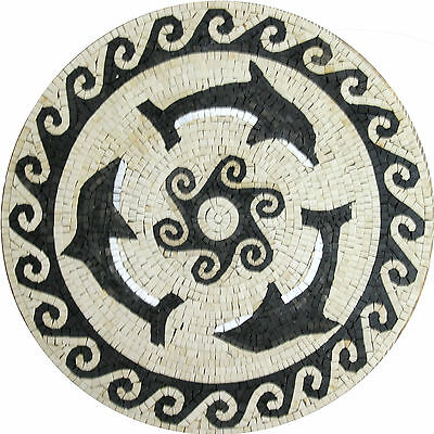 Dolphins Nautical Round Medallion Floor Tile Marble Mosaic MD1002