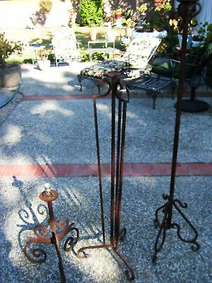 Lot of 3 Vintage Wrought Iron Lamp Bases