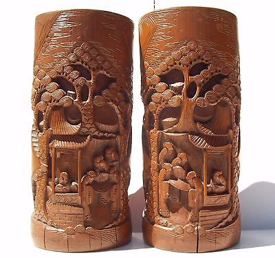 "10.5"" Chinese Antique Wood Brush Pot Signed Hand Carved Bamboo Pair VTG Holder"