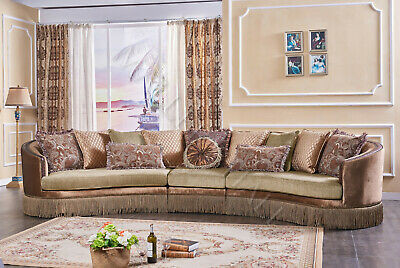 Coral Brown Upholstered Curved Sofa Sectional Pillows Fringe Tassel Trim XL 3pc