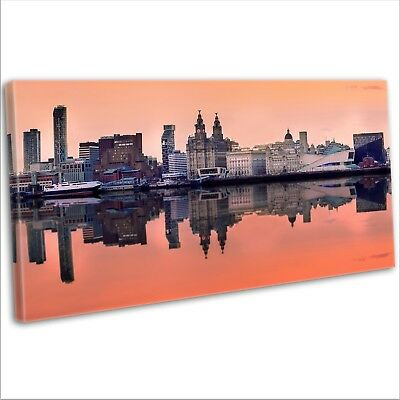 Iconic Liverpool Skyline 40x20inches Wall Picture Canvas Art Cheap Print