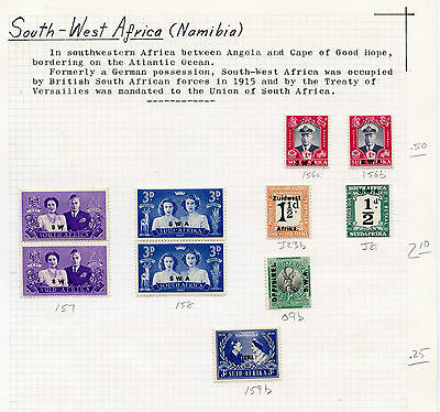 Weeda South West Africa 156a//299 Mint collection mounted/hinged to pages CV$86+